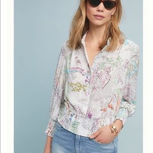Anthropologie Mavae Rosa Paint By Numbers Blouse
